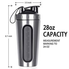 28 Oz Stainless Steel Bubuk Protein Whey Gym Olahraga Shaker Botol Blender Cangkir Vacuum Isolasi Botol Air Minum(China)