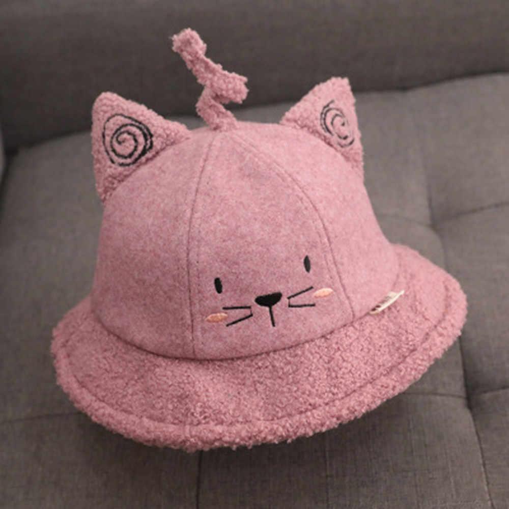 赤ちゃん秋と冬の韓国漫画の猫ベビーカシミヤ漁師帽子子供ファッション漁師流域帽子ボンネットランファン