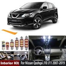 11 pces carro lâmpadas led canbus led kit de luz interior para 2007-2018 2019 nissan qashqai j10 j11 cúpula tronco lâmpada de licença