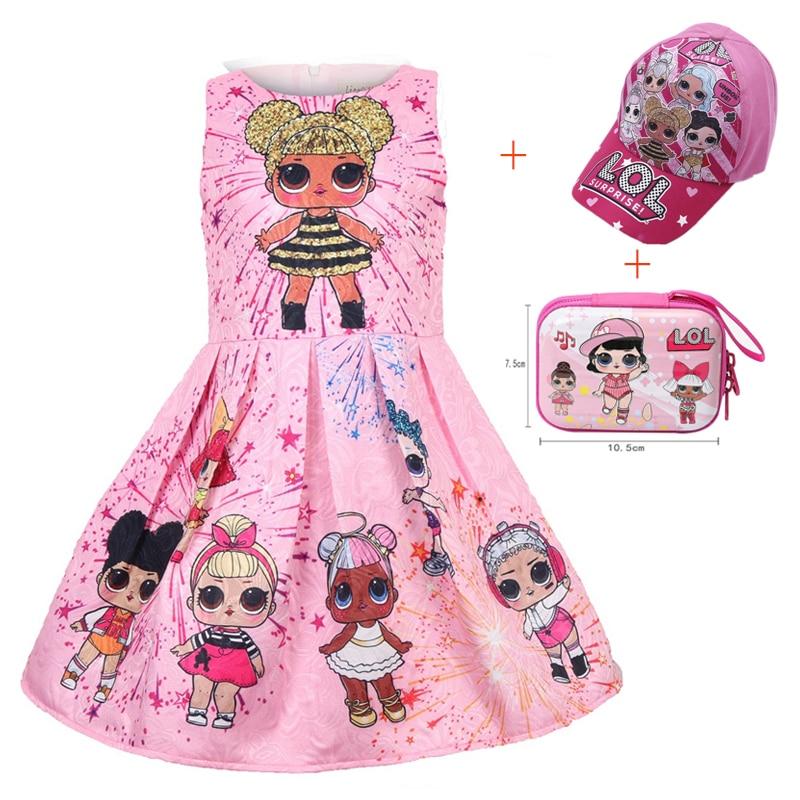Girls Lol Princess Dress Kids Cute Elegant Children Clothes Summer Sleeveless Dolls Print Pleated Girls Dress Vestidos Clothing