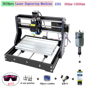 CNC 3018 Pro laser engraving machine 3-axis milling woodworking engraving machine 0.5-15W supports offline DIY laser cutting mac(China)