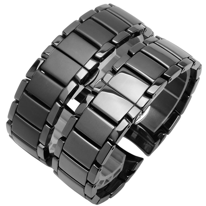 22mm 24mm Ceramic Watchband Black Wristband Glossy And Matting Bracelet For AR1451 1452 Men's Watch Accessories