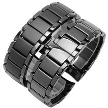 22mm 24mm Ceramic watchband black wristband glossy and matting bracelet for AR1451 1452 mens watch accessories