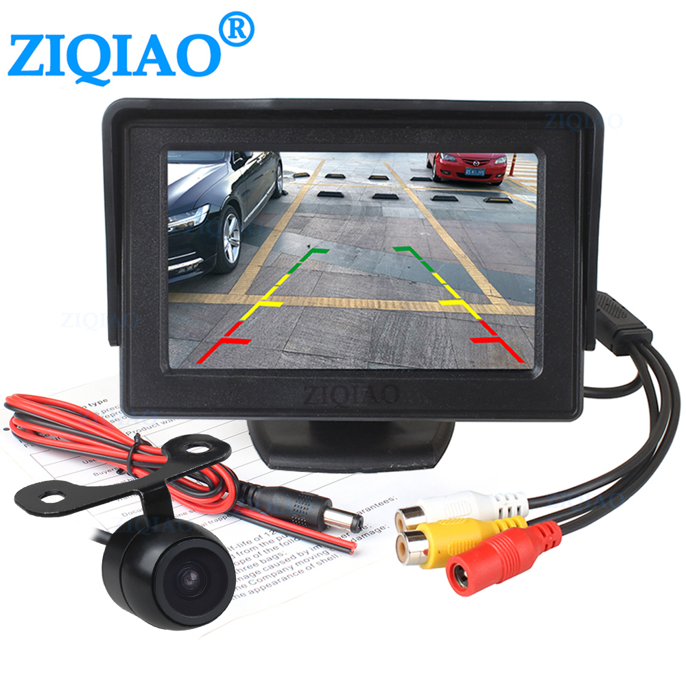 ZIQIAO 4.3 Inch TFT LCD Reverse Parking Monitor System With Reverse Monitor HD Parking Rear View Camera Optional