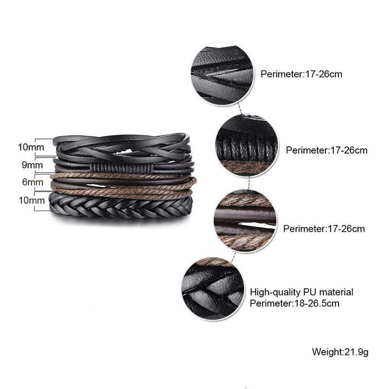 4 sztuk/zestaw bransoletka skórzana męska wielowarstwowe WRAP nadgarstek BRAZALETE PULSERA DE PIEL