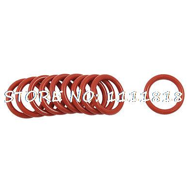10 Pcs 18mm Outside Dia 2.5mm Thickness Dark Red Silicone O Ring Oil Seals