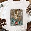 ヒョウサボテンプリント Tシャツ女性美的婦人服因果夏原宿 Tシャツヴィンテージ Tシャツアートトップスドロップシッピング