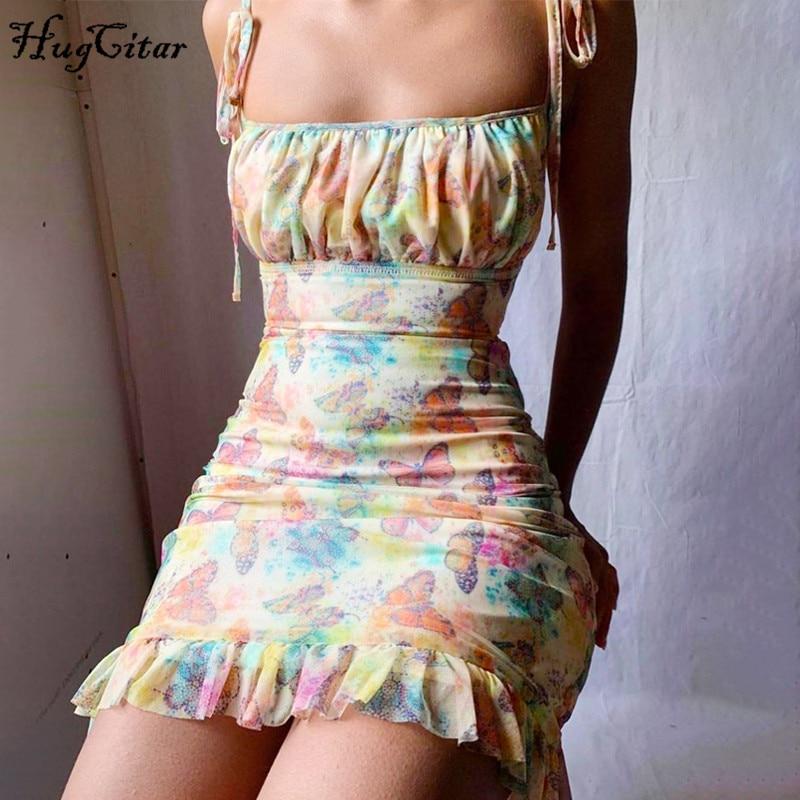 Hugcitar 2020 sleeveless butterfly print ruffles bandage sexy mini dress summer women fashion streetwear outfits sundress