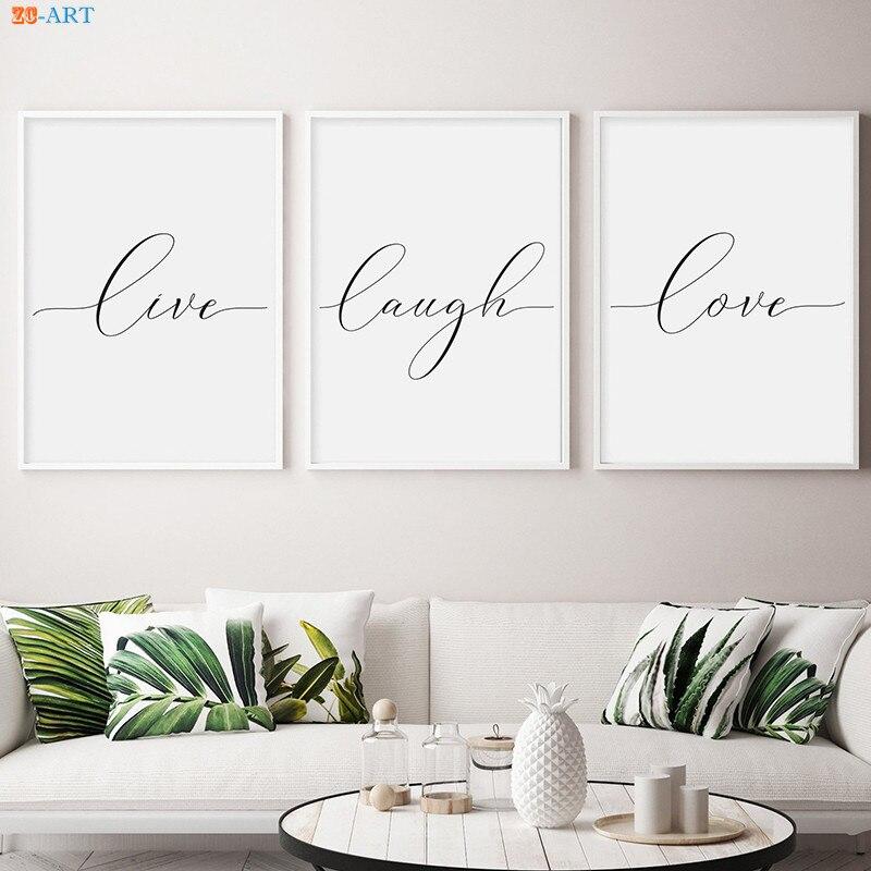 Viver rir amor lona cartaz impressão pintura minimalista parede arte fotos para sala de estar nordic decoração casa