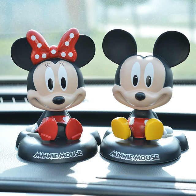 Disney Minnie และ Mickey Mouse Bubble-หัวตุ๊กตารูปตุ๊กตาของเล่นตกแต่งรถน่ารักเด็กของขวัญของเล่นตกแต่งเค้ก