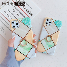 Plating Marble Phone Case With Stand For iPhone 11 Pro Max Geometric Glossy Back Cover Finger Ring Holder