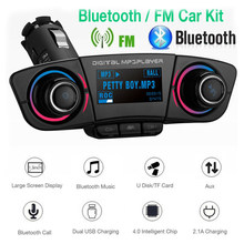 car Wireless Bluetooth Handsfree FM Transmitter Aux Audio Music MP3 Player U-Disk TF Card Dual USB charging Bluetooth Call(China)
