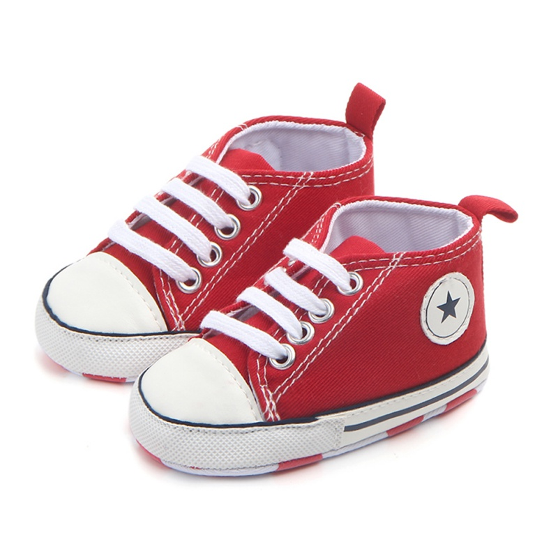 Newborn Canvas Sneakers Cotton Comfort Breathable First Walkers Crib Shoe Anti-Slip Unisex Toddler Baby Infant Boy Girl Shoes