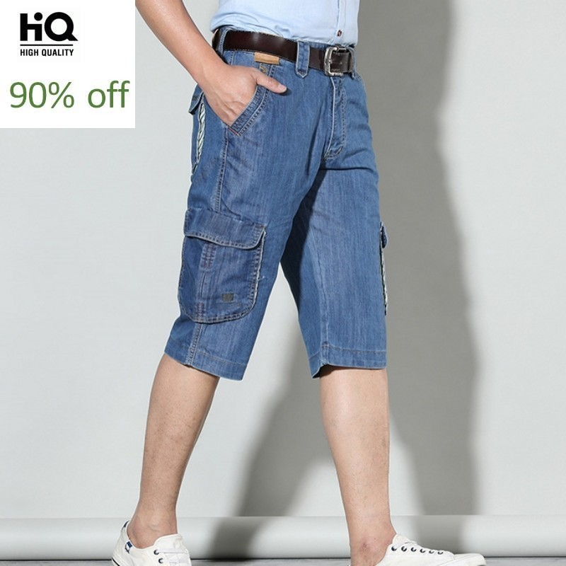 2020 Fashion Summer New Brand Mens Short Jeans Cotton Calf-Length Denim Pants Pocket Loose Baggy Wide Leg Straight Cargo Pants