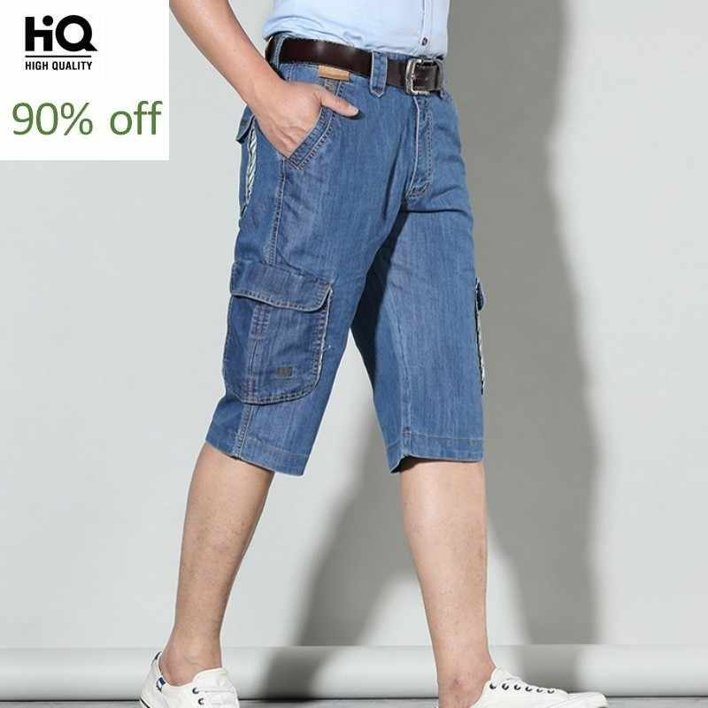 2020 mode Sommer Neue Marke Herren Kurze Jeans Baumwolle Kalb-Länge Denim Hosen Tasche Lose Baggy Breites Bein Gerade cargo Hosen