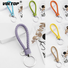 PU Leather Braided Key Chain Woven Rope Keychain DIY Bag Pendant  Holder Car Keyrings Men Women Key Rings