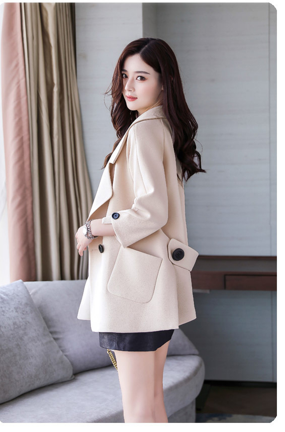 Autumn jacket women M-2XL plus size pink green beige coat 19 new long sleeve lapel fashion short paragraph jacket feminina LR484 39