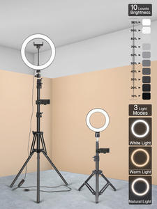 Led-Ring-Light Tripod Photography-Lighting Selfie-Lamp Makeup Dimmable Video-Live Youtube