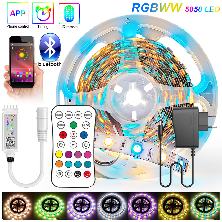 Bluetooth RGBWW 30M 20M 15M RGB LED Strip 5050 DC 12V Ribbon LED Light Strip RGB Warm White Tape SMD Flexible 5M 10M Diode Tape