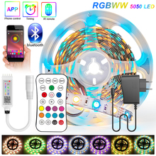 Bluetooth RGBWW 30M 20M 15M RGB LED Strip 5050 DC 12V Ribbon LED Light Strip RGB Warm White Tape SMD Flexible 5M 10M Diode Tape
