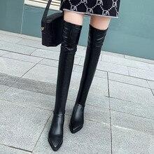 Новая обувь Женские ботинки черного цвета Ботфорты сексуальный женский осень-зима женские сапоги до бедра