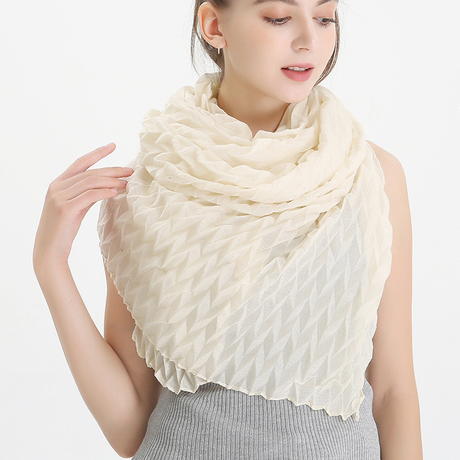 New Fashion Creased Scarf Women Pure Color Pleated Scarves And Wraps Female Outdoor Shawls Lady Viscose Hijab Stoles Wholesale