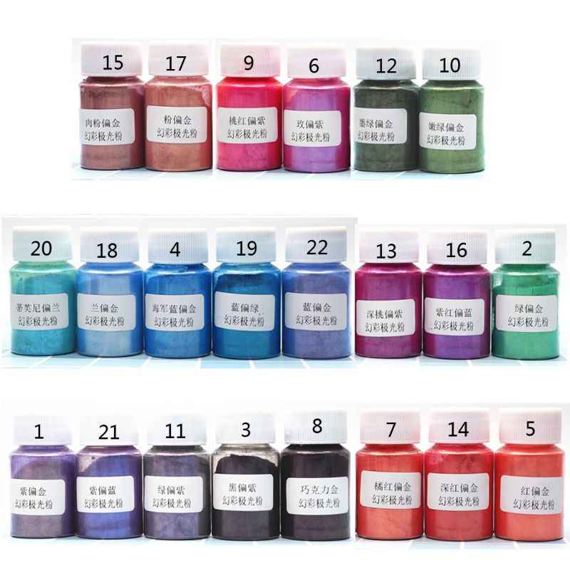 Nuevo pigmento de perlas en polvo Aurora 10 gramos 22 colores Mica colores nacarados tinte de resina fabricación de joyas