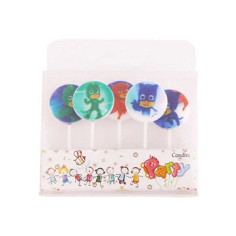 5pcs/set Pj Mask  Juguete TV Anime Figures Catboy Owlette Gekko PJ Masks Party Birthday Candles Supplies Toys For Children S19