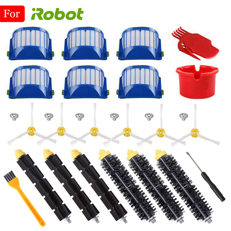 For IRobot Roomba 500 550 585 595 600 610 620 630 650 651 660 665 670 680 690 Series Vacuum Cleaner Parts Side Brush HEPA Filter