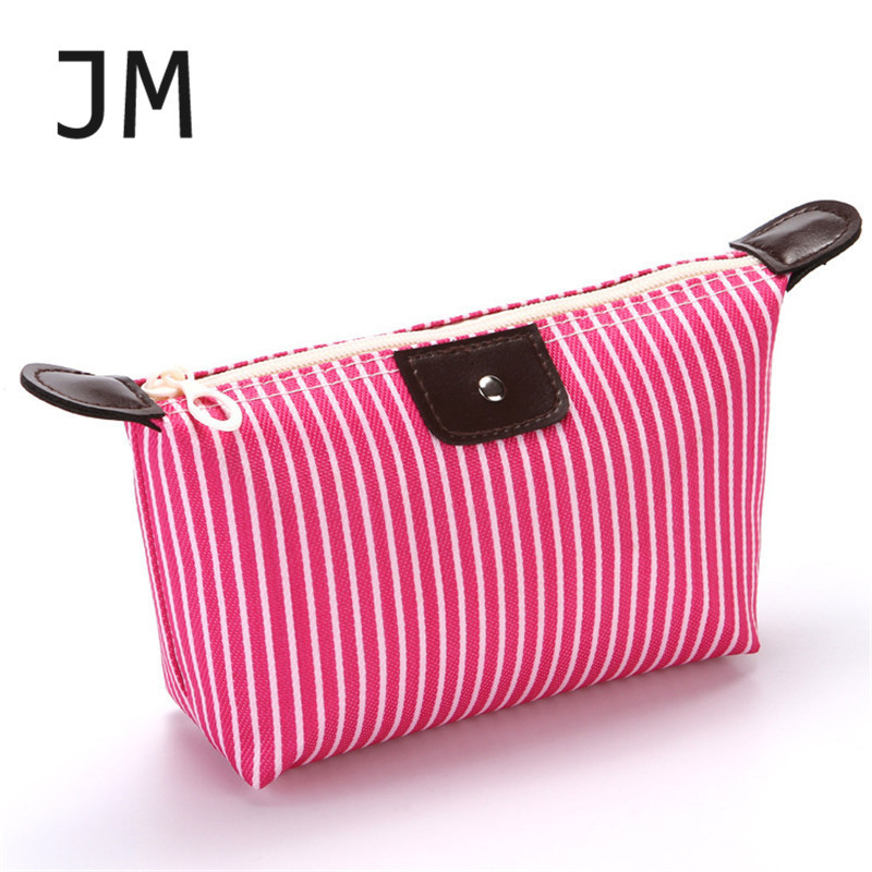 New Women Fashion Travel Cosmetic Bag Striped Foldable Dumpling Bag Large Capacity Ladies Make Up Bags Cosmetic Case Bling Bag