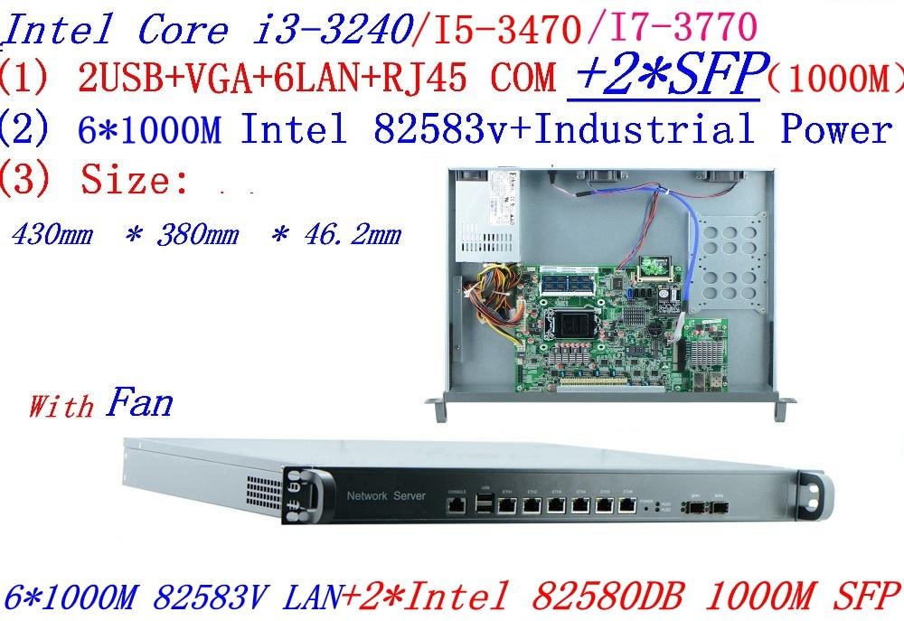 Intel Core I7 3770 3.4G 1U Firewall Server With 6*intel 1000M 82583V Gigabit LAN 2*SFP Support ROS RouterOS Etc