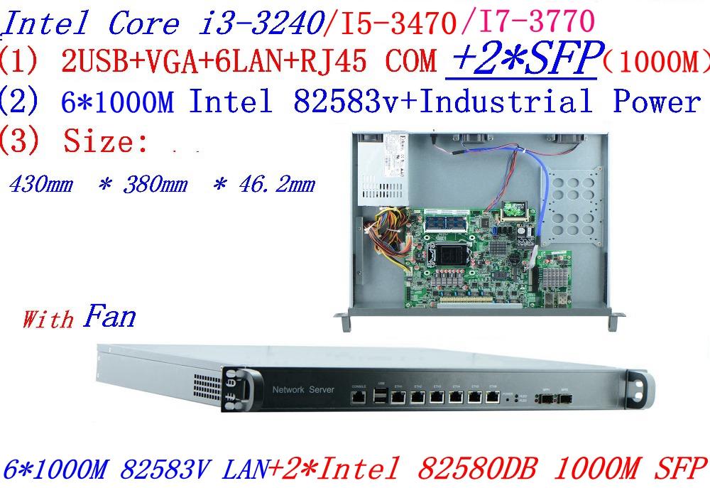 intel <font><b>core</b></font> <font><b>i7</b></font> <font><b>3770</b></font> 3.4G 1U firewall server with 6*intel 1000M 82583V Gigabit LAN 2*SFP support ROS RouterOS etc image