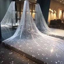Фата свадебная длинная блестящая женская фата невесты цвета