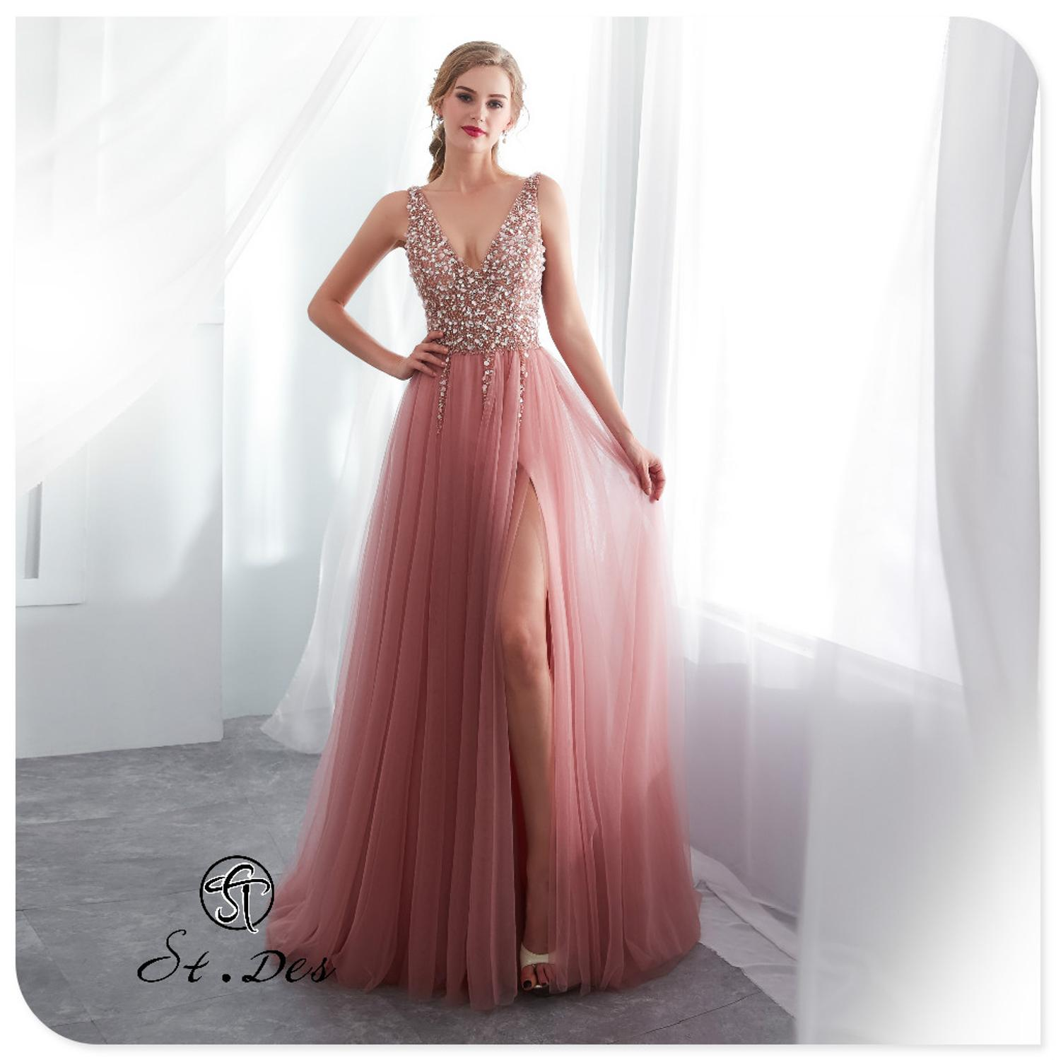 S.T.DES Evening Dress 2020 New Arrival Beading A-line V-Neck Pink Sleeveless Designer Floor Length Party Dress Dinner Gowns