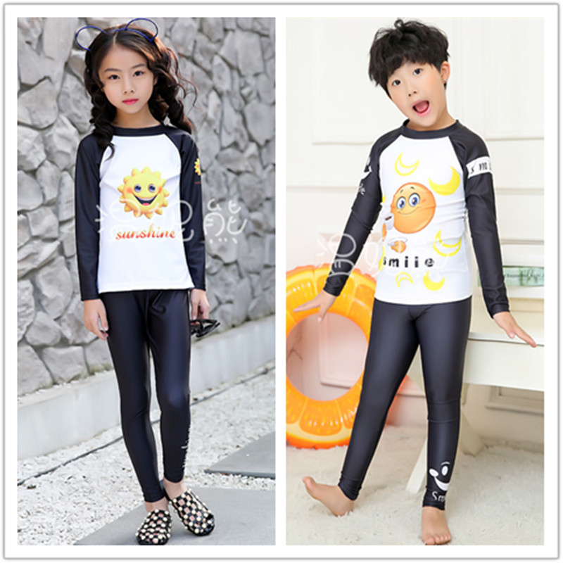 New Style KID'S Swimwear Men And Women Children Cute Cartoon Printed Split Type Sun-resistant Injury Long Sleeve Trousers Spa Re