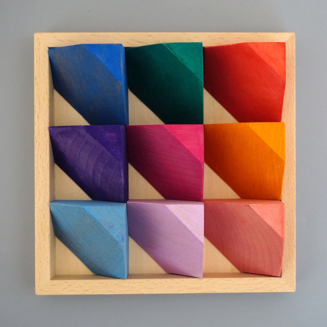 18pcs set Big Block Color Beech Wooden Flower Bricks Rainbow Wooden Blocks Creative Stackable Corner Stone