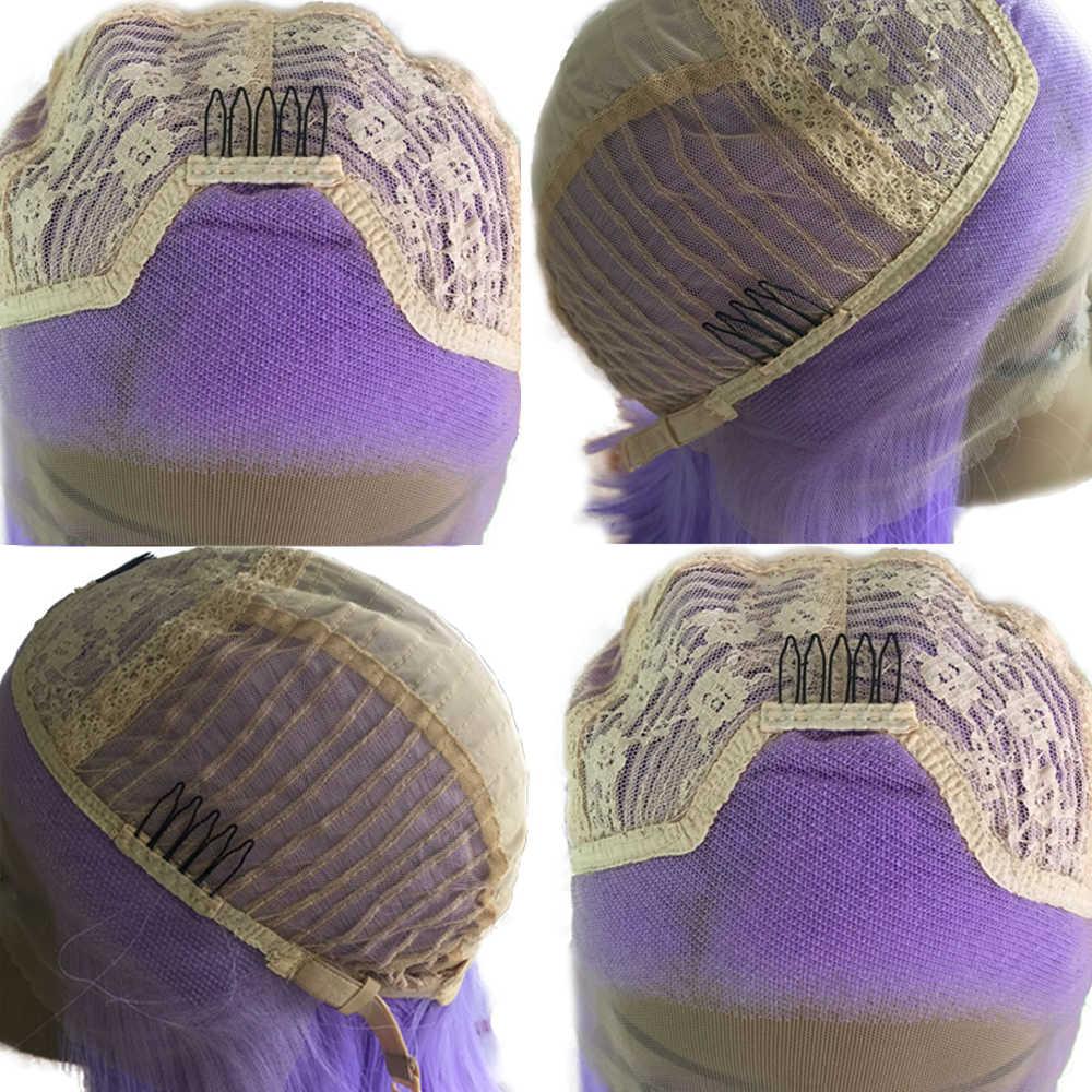 Fanxiton 12 ''Korte Rechte Synthetische Lace Front Pruik Paars Kleur Blunt Cut Bob Pruiken Voor Vrouwen Gratis Deel Natuur kort Haar
