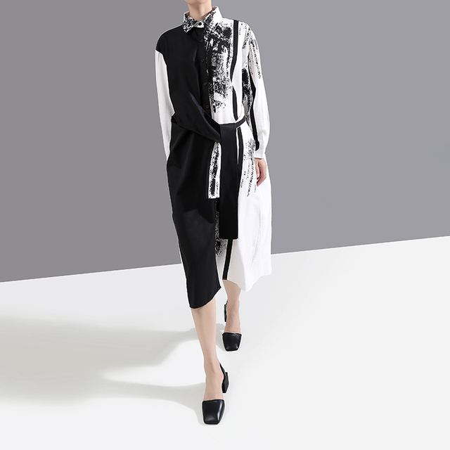 VeryYu 2020 Autumn Black White Long Sleeve Shirt Dress Fashion  VerYYu