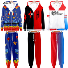 Birds of Prey Cosplay Suicide Squad Harley Quinn Hoodies Sweatshirts 3D Print Hoody Hoodies Pants Set Sport Suit Disfraz Clothes