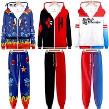 นกเหยื่อคอสเพลย์Suicide Squad Harley Quinnเสื้อHoodies 3Dพิมพ์Hoody HoodiesชุดกางเกงชุดกีฬาDisfrazเสื้อผ้า