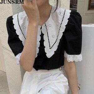 Camisa Sexy de manga corta con flores y gancho de encaje para mujer, novedad de verano 2020, blusa elegante Retro de estilo coreano, camisas holgadas Vintage
