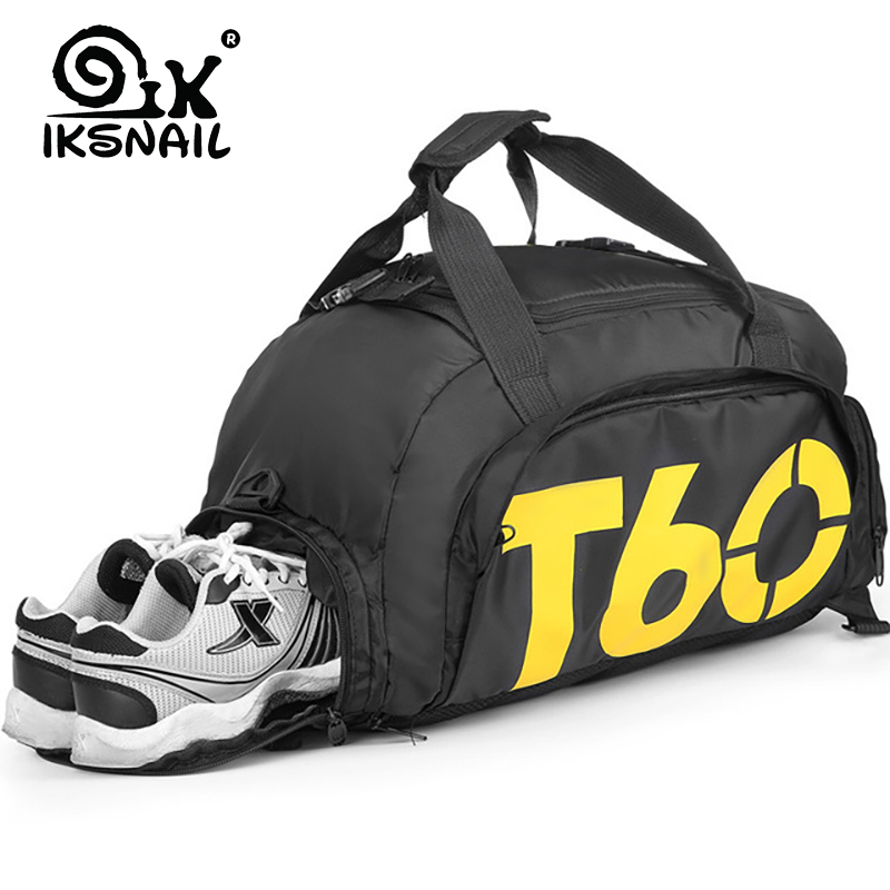 IKSNAIL Travel Men Sport Gym Bag Women Fitness Waterproof Outdoor Separate Space For Shoes Pouch Rucksack Backpack Sac De T60
