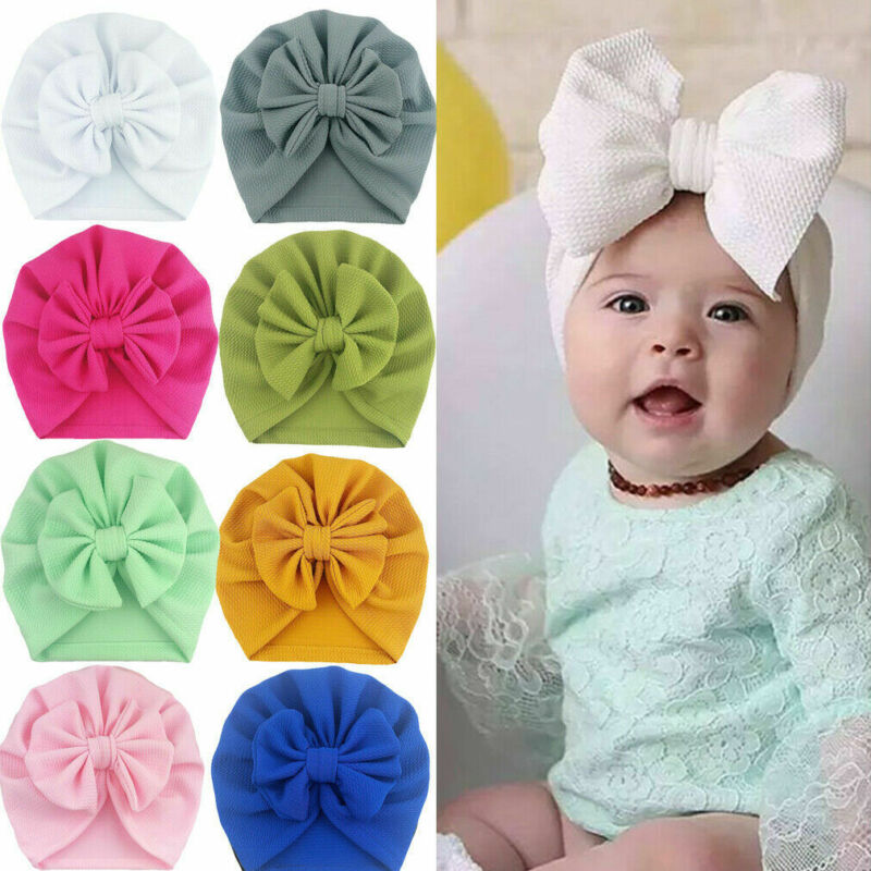 2020 Baby Stuff Accessories Baby Girl Hat With Bow Knot Infant Beanie Solid Big Bowknot Cap For Girls Kid Hats(China)