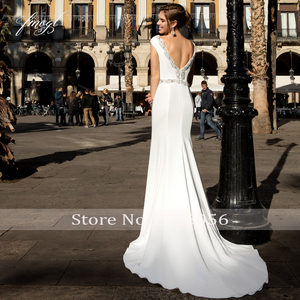 Image 2 - Fmogl Sexy Backless Soft Satin Mermaid Wedding Dresses 2020 Luxury Beaded Pearls Sashes Sweep Train Vintage Trumpet Bridal Gowns