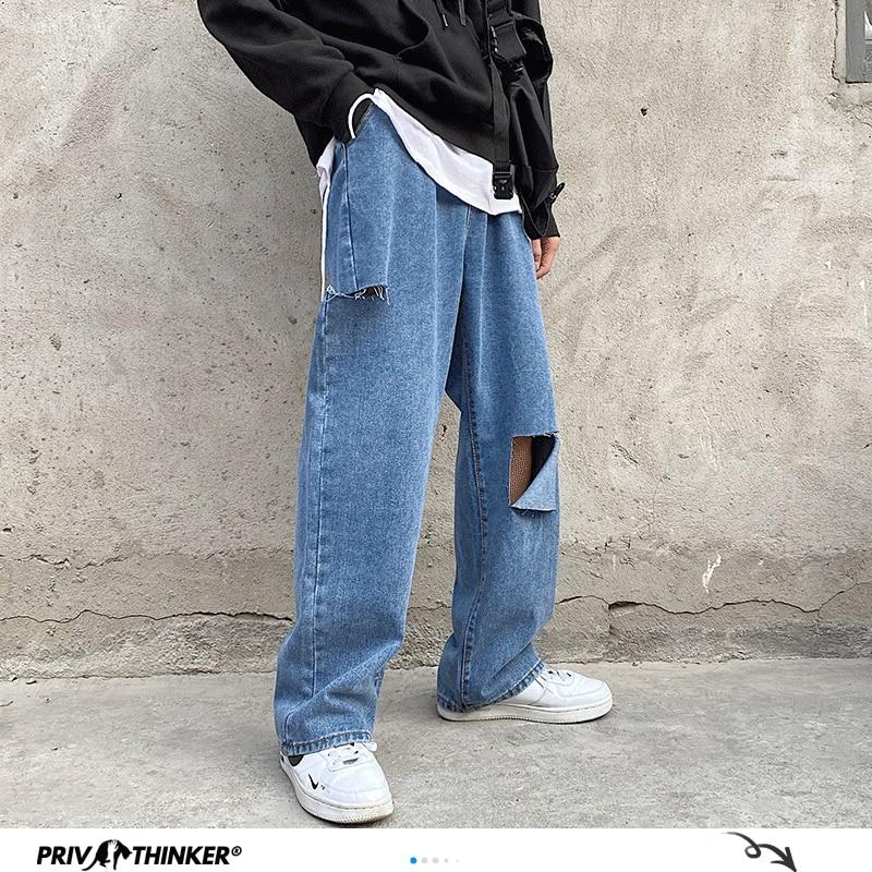 Privathinker Blue Hip Hop Ripped Fashion Mens Jeans 2020 Summer Oversize 5XL Jeans Man Loose Streetwear Vintage Male Denim Pants