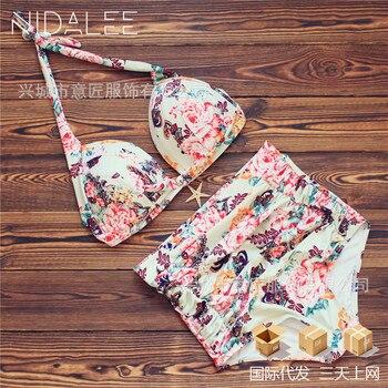 Gao Waist Printing Swimwear Bikini Thicken Fat Po Big Code Hot Spring Swimsuit Xxxl Size High Cut