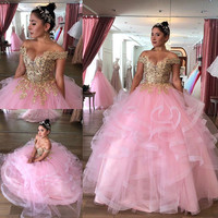 Pink Lace Beaded Cheap Quinceanera Prom Dresses 2020 Sweetheart Tiers Ball Gown Tulle Evening Party Sweet 16 Dress