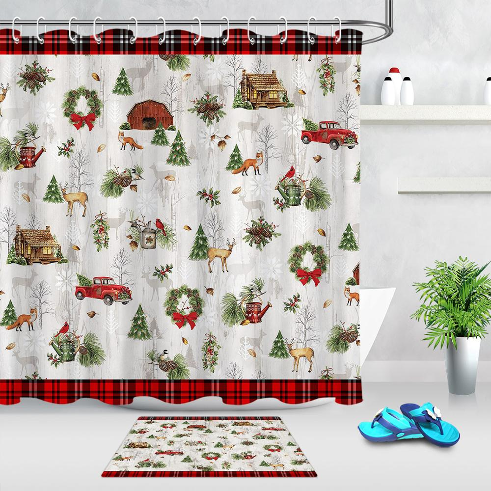 Rustic Wood Boards Snow Christmas Red Truck Shower Curtain Set Bathroom Decor