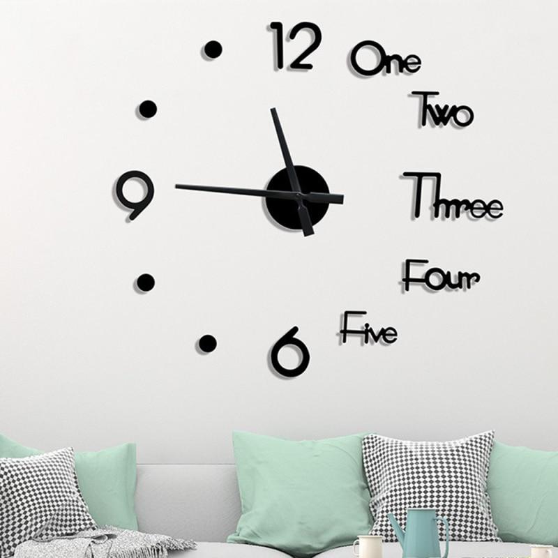 3d Modern Clock Wall Stickersdiy Frameless Small Large Wall Clock Mirror Sticker Metal Big Wall Clock Home Office Decorations Leather Bag