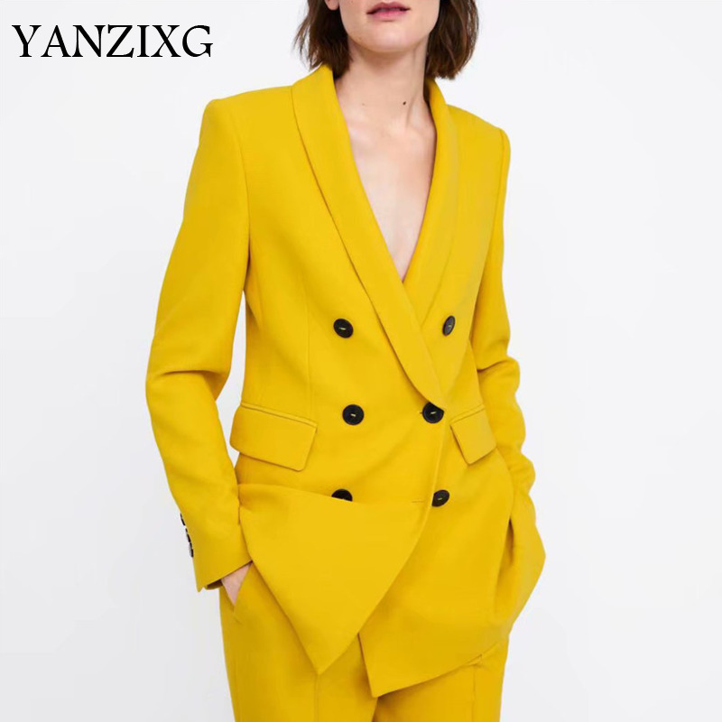 Women Style Yellow Blazer Pockets Double Breasted Long Sleeve Office Wear Coat Solid Female Casual Outerwear Tops A979